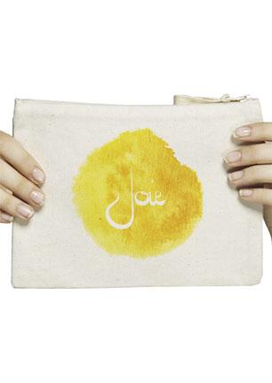 pochette trousse femme et homme coton recyclé et équitable mémos d'amour mots positifs Joie