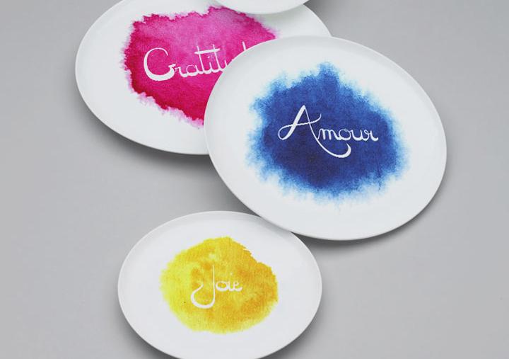 Vaisselles, assiettes, bols céramique et bijoux porcelaine artisanale Mémos D'Amour mots positifs