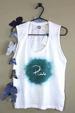 Débardeur t-shirt femme coton bio et équitable Paix mots positifs mémos d'amour